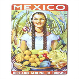 看板 メタルサイン 「MEXICO」 #98510 縦38cm×横30.5cm メキシコ ブリキ看板 店舗装飾 壁面ディスプレー アメリカ雑貨