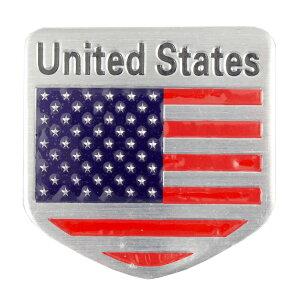 ステッカー 車 シール アルミステッカー United States 縦5×横5cm アメリカンフラッグ 星条旗 ホームベース型 カーアクセサリー アメリカン雑貨