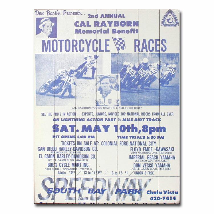 看板 木製 『South Bay Park Chula Vista CA』84×63cm バイクレース ウッドポスター 西海岸 ヴィンテージレーサー アメリカ雑貨 アメリカン雑貨