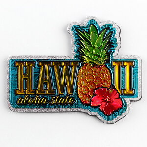 ハワイアン フォイルマグネット 「ハワイアンパイナップル&ハイビスカス」 ハワイのお土産 ハワイアン雑貨 アメリカ雑貨 アメリカン雑貨