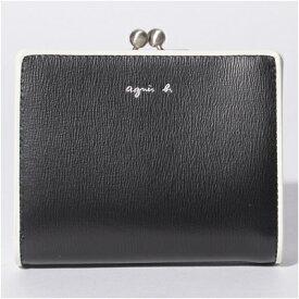 アニエスべー 財布 折財布 二つ折り がま口 ブラック agnes b アニエス ベー ボヤージュ