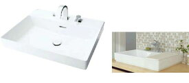 ###INAX/LIXIL 角形洗面器 ベッセル式【YL-A401FYCA(C)V】(ワイドスクエアタイプ) シングルレバー混合水栓吐水口引出式 床排水(Sトラップ) 壁給水