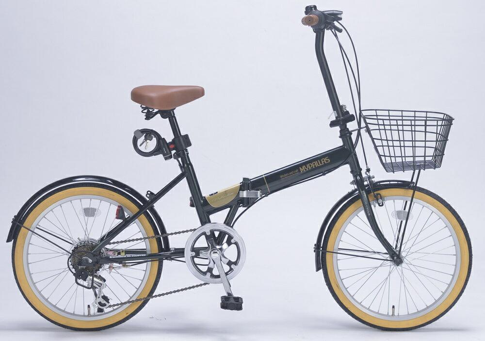『カード対応OK!』###ω池商 マイパラス/MYPALLAS【M-252 GR】グリーン 折畳自転車20インチ 6段ギア オールインワン