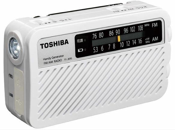 『カード対応OK!』ω東芝 オーディオ【TY-JKR5(W)】(ホワイト) 手回し充電ラジオ