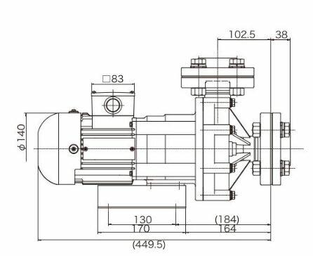 三相電機 マグネットポンプ【PMD-7533B2X-E3】60Hz 小型 マグネットカップリングタイプ (ケミカル・海水用) 三相200V 750W フランジ接続