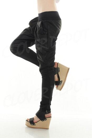 【再々入荷】レザー素材切替おしゃれサルエルパンツ大人サルエル楽チンゆるっと履き心地レディースロング丈10分丈カジュアルきれいめシルエットがきれいゆるカワかわいいウエストゴムレディススウェットダンス衣装無地黒イベント