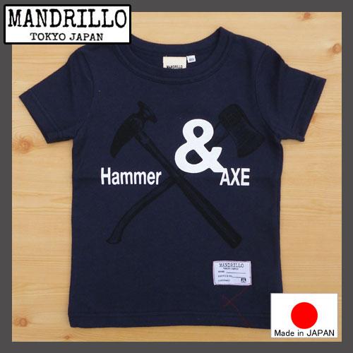 【メール便送料無料】国産 MANDRILLO【マンドリル】Hammer&AXE Tシャツ ネイビー100-130cm【チャコール】92016032016新作【ベビー キッズ 動物 アニマル お揃い】【8000円以上送料無料】ガスバッグ