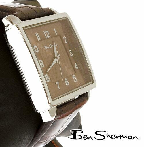ベンシャーマン Ben Sherman スクエア ドッグトゥース ライトブラウン フェイス 腕時計 メンズ プレゼント ギフト
