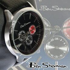ベンシャーマンBenShermanネイビーフェイス腕時計【送料無料】2012新作メンズモッズファッションクロノグラフChronographブラックBlack本革レザーベルトLeather腕時計アナログウォッチUKモッズr726