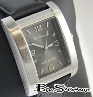 Ben Sherman Ben Sherman Black Silver gunmetal square watch watches mens mod fashion analog unisex genuine leather leather belt UK MOD BenSherman Ben Sherman s103