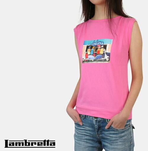 NY セール ランブレッタ Lambretta スクーター ガールズ ノースリーブ Tシャツ タンクトップ レディース 【送料無料】 Scooter Girls No Sleeve T-Shirt ラインストーン ピンク Pink 英国 UK モッズファッション lwk7113pink *s *m *l プレゼント ギフト