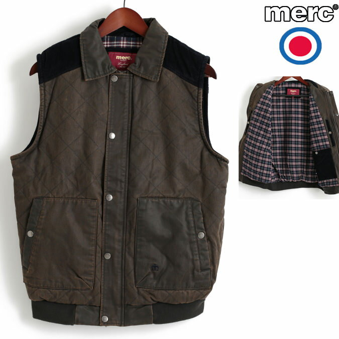 Fセール メルクロンドン Merc London ベスト ワックス加工 キルティング ダークブラウン レトロ メンズ モッズファッション プレゼント ギフト