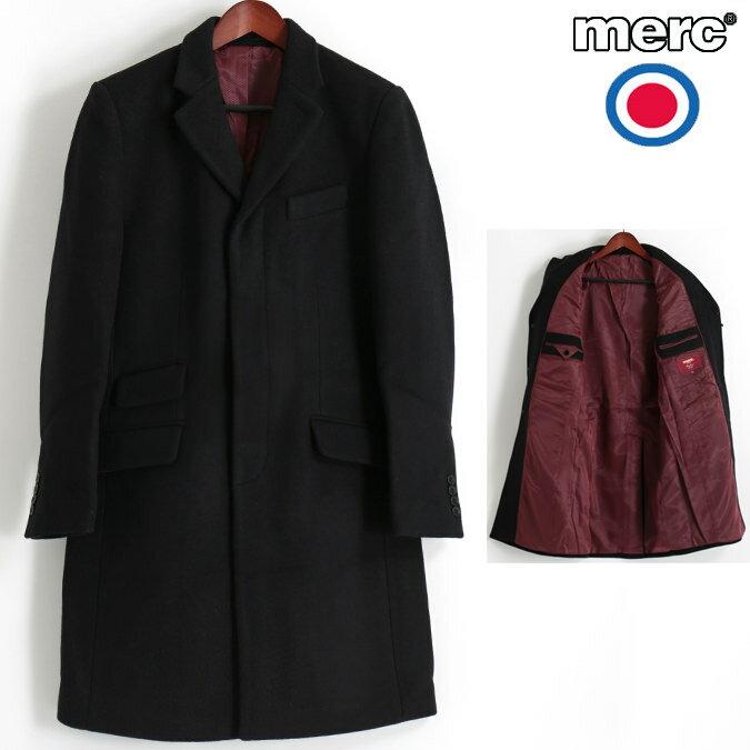 Fセール メルクロンドン Merc London オーバーコート ウール テーラード ブラック メンズ モッズファッション プレゼント ギフト