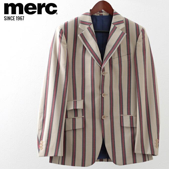 メルクロンドン メンズ ボーティングブレザー スクールジャケット Merc London メルク ジャケット ストライプ ベージュ プレゼント ギフト