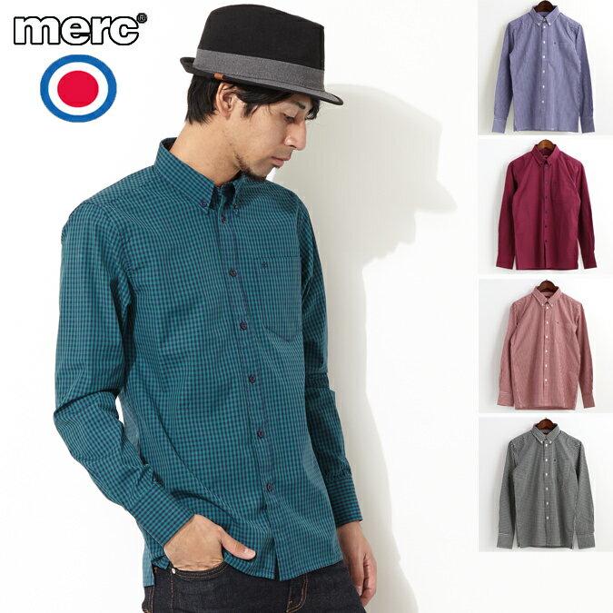 セール メルクロンドン Merc London ギンガムチェック 長袖シャツ 5色 メンズ モッズファッション プレゼント ギフト 父の日