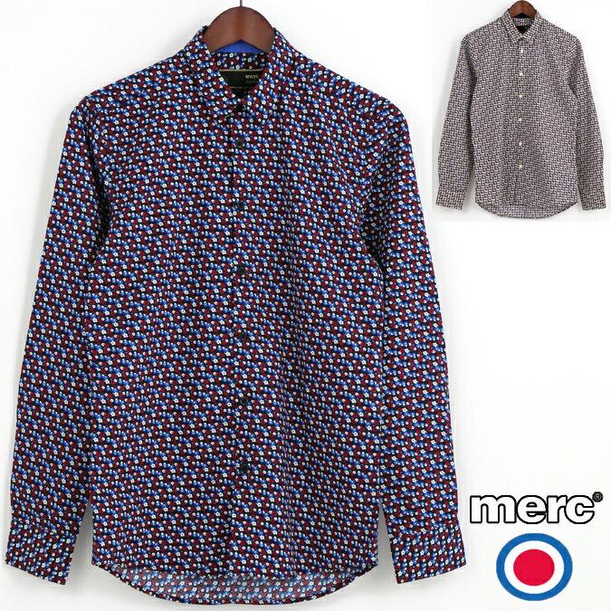 Fセール メルクロンドン Merc London 長袖シャツ 花柄シャツ 2色 W1 プレミアム メンズ モッズファッション プレゼント ギフト