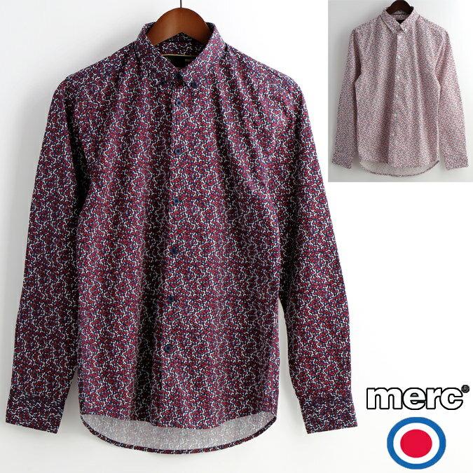 セール メルクロンドン Merc London 花柄シャツ 長袖シャツ フラワー 2色 ネイビー オフホワイト W1 プレミアム メンズ モッズファッション プレゼント ギフト 父の日