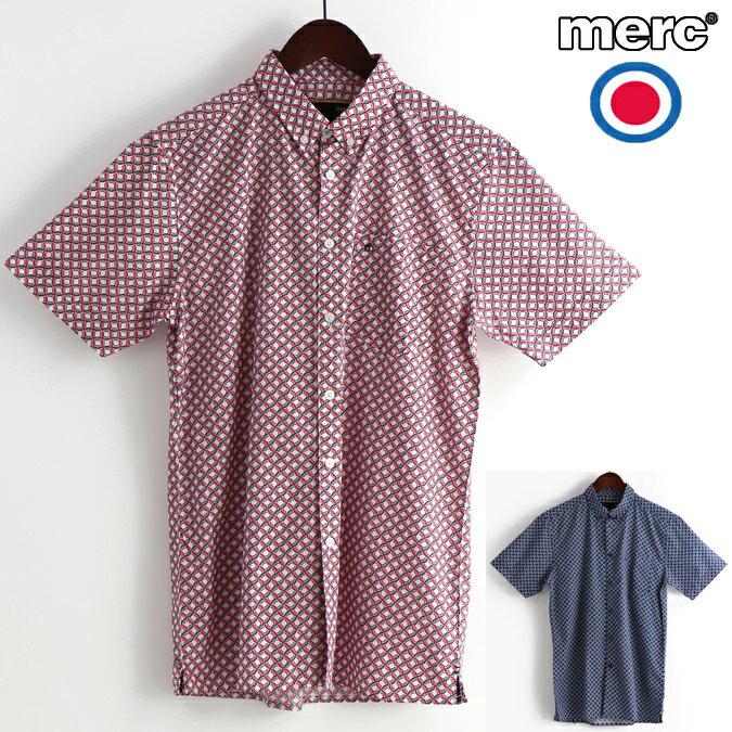 セール メルクロンドン Merc London 半袖シャツ レトロジオ 2色 W1 プレミアム レッド ブルー メンズ モッズファッション プレゼント ギフト