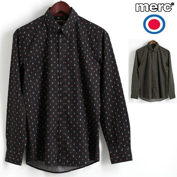 Fセール メルクロンドン Merc London 長袖シャツ スモールペイズリー 2色 ブラック カーキ ボタンダウン W1 プレミアム メンズ モッズファッション プレゼント ギフト