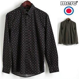 ラストセール メルクロンドン Merc London 長袖シャツ スモールペイズリー 2色 ブラック カーキ ボタンダウン W1 プレミアム メンズ モッズファッション プレゼント ギフト