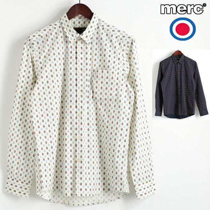 セール メルクロンドン Merc London 長袖シャツ リーフプリント 2色 ヴィンテージホワイト ネイビー W1 プレミアム メンズ モッズファッション プレゼント ギフト 父の日