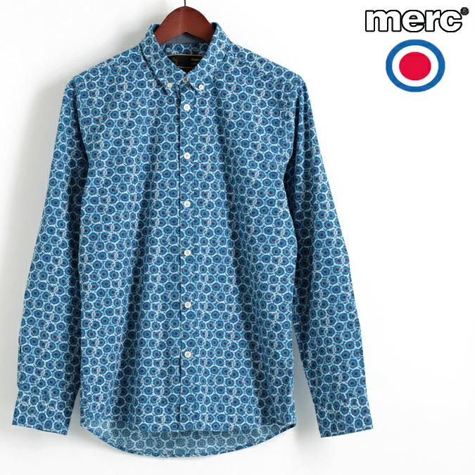 セール メルクロンドン Merc London 長袖シャツ ジオフローラル ブルー W1 プレミアム ボタンダウン メンズ モッズファッション プレゼント ギフト 父の日