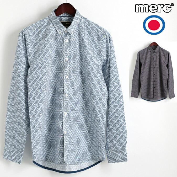 Fセール メルクロンドン Merc London 長袖シャツ ジオプリント 2色 ブルー ブラウン W1 プレミアム ボタンダウン メンズ モッズファッション プレゼント ギフト