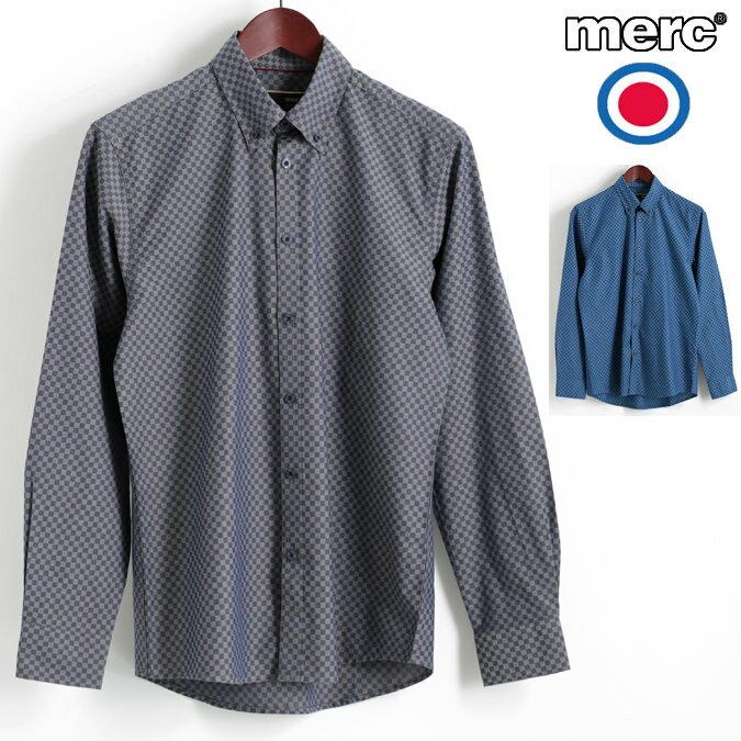 セール メルクロンドン Merc London 長袖シャツ スカチェック ギンガムチェック 2色 ダストブルー コバルトブルー W1 プレミアム ボタンダウン メンズ モッズファッション プレゼント ギフト
