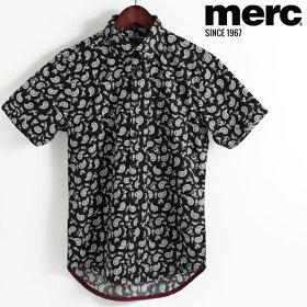 メルクロンドンMercLondon半袖シャツペイズリー18SS新作ブラックW1プレミアムメンズモッズファッションプレゼントギフト