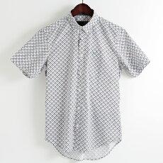 メルクロンドンMercLondon半袖シャツジオプリント18SS新作2色オフホワイトネイビーW1プレミアムメンズモッズファッションプレゼントギフト