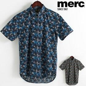 メルクロンドンMercLondon半袖シャツカモプリント18SS新作2色ブルーカーキW1プレミアムメンズモッズファッションプレゼントギフト