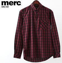 メルクロンドンメンズチェックシャツMercLondon長袖シャツポケットW1プレミアム19SS新作ブラックレッドモッズファッションプレゼントギフト