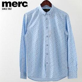 メルクロンドン メンズ 長袖シャツ Merc London スモールペイズリー オックスフォード 2019 新作 ブルー モッズファッション プレゼント ギフト