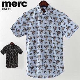 メルクロンドン メンズ 半袖シャツ Merc London ペイズリープリント 2019 新作 2色 ブラック ボーイブルー モッズファッション プレゼント ギフト