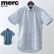 メルクロンドンメンズ半袖シャツ水玉スポット20SS新作MercLondon2色ボーイブルーブライトブルーモッズファッションプレゼントギフト