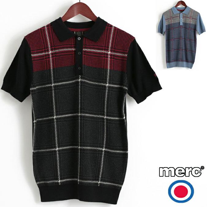 セール メルクロンドン Merc London ポロシャツ ポロ ニット プリンスオブウェールズ チェック POW W1 プレミアム 2色 チャコール ブルー メンズ モッズファッション プレゼント ギフト