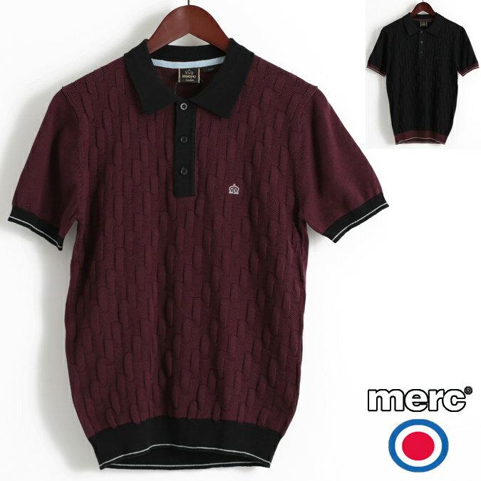セール メルクロンドン Merc London ポロシャツ ポロ ニット ダイアゴナル ジグザグ W1 プレミアム 2色 ブラック ワイン メンズ モッズファッション プレゼント ギフト 父の日