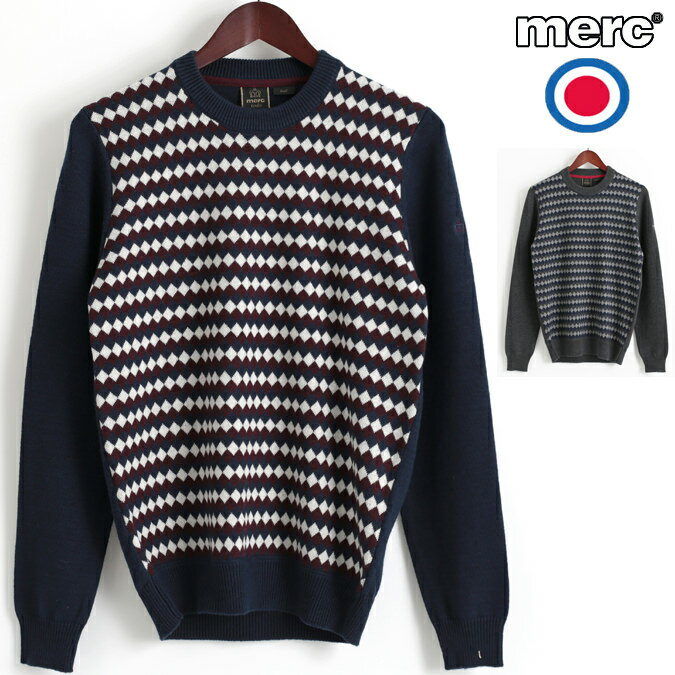 メルクロンドン Merc London セーター アーガイルチェック ダイヤモンド ジャガード ウール ニットセーター 2色 ネイビー マールチャコール レトロ メンズ モッズファッション プレゼント ギフト