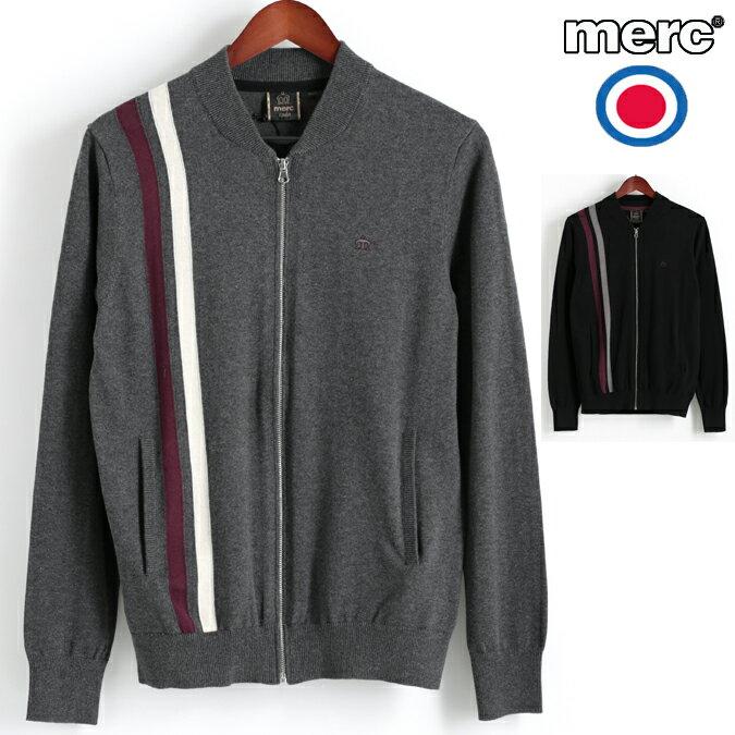 Fセール メルクロンドン Merc London カーディガン ストライプニット ボンバー 2色 マールチャコール ブラック W1 プレミアム メンズ モッズファッション プレゼント ギフト