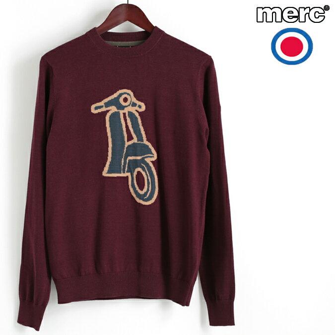 Fセール メルクロンドン Merc London セーター スクータープリント ジャガード ニット マホガニー W1 プレミアム ベスパ VESPA メンズ モッズファッション プレゼント ギフト