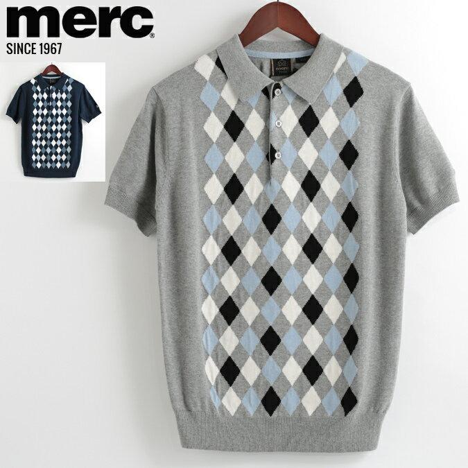 メルクロンドン Merc London ポロシャツ ニット アーガイルチェック 18SS 新作 2色 グレーマール ネイビー W1 プレミアム メンズ モッズファッション プレゼント ギフト 父の日