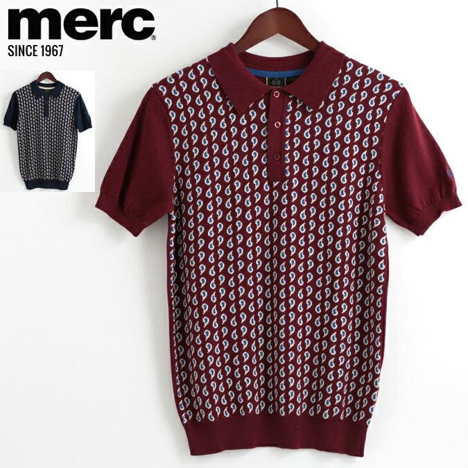 メルクロンドン Merc London ポロシャツ ニット ペイズリー 18SS 新作 2色 バーガンディー ネイビー W1 プレミアム メンズ モッズファッション プレゼント ギフト 父の日