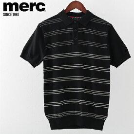 メルクロンドン メンズ ポロシャツ ポロ Merc London ニット ストライプ W1 プレミアム ブラック モッズファッション ギフト