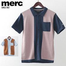 メルクロンドンメンズポロシャツポロニット切替20SS新作MercLondon2色ダークブルースカイモッズファッションプレゼントギフト