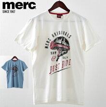 メルクロンドンメンズTシャツMercLondonヘルメットグラフィック19SS新作2色クリームヴィンテージブルーモッズファッションプレゼントギフト