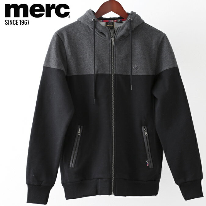 メルクロンドン メンズ パーカ Merc London フーディー カラーブロック 19SS 新作 ブラック パーカー モッズファッション プレゼント ギフト