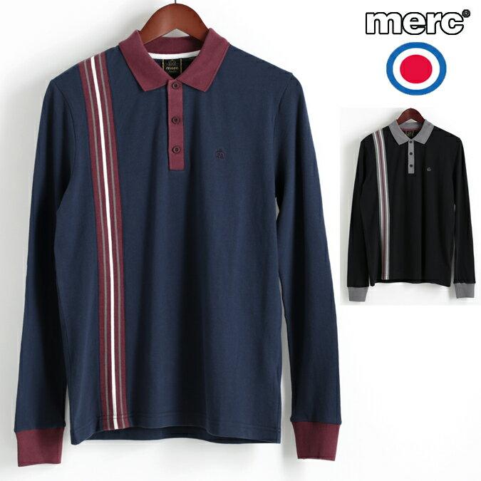 Fセール メルクロンドン Merc London ロングポロシャツ ストライプ 2色 ネイビー ブラック W1 プレミアム メンズ モッズファッション プレゼント ギフト