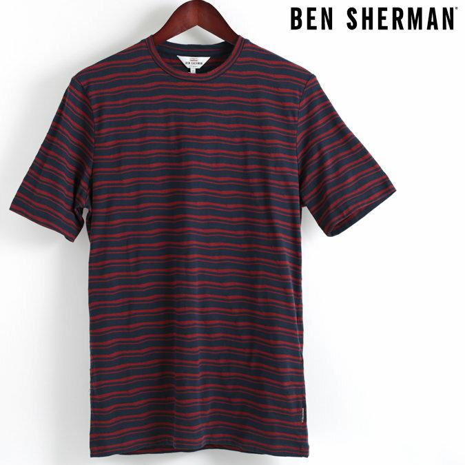 ベンシャーマン Ben Sherman Tシャツ ストライプ クルーネック 18SS 新作 ネイビー メンズ プレゼント ギフト