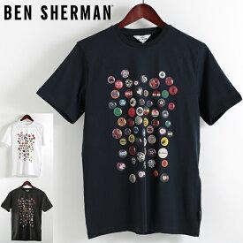 ベンシャーマン メンズ Tシャツ Ben Sherman ピンバッジ 2019 新作 3色 オリーブ ダークネイビー ホワイト プレゼント ギフト