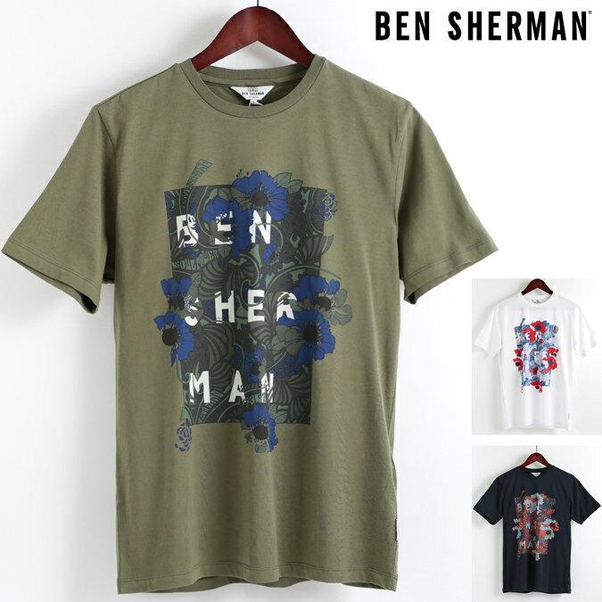 ベンシャーマン Ben Sherman Tシャツ フローラル パネル 3色 メンズ 2018 新作 花柄 フラワー メンズ プレゼント ギフト クリスマス